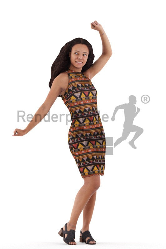 Posed 3D People model for visualization – black young woman in traditional dress, dancing