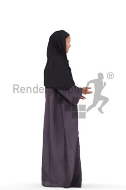 Posed 3D People model by Renderpeople – black woman in traditional hijab, standing and talking