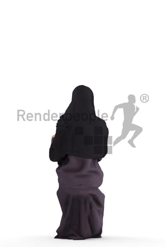 Posed 3D People model for visualization – black woman in traditional hijab, sitting and reading a magazine
