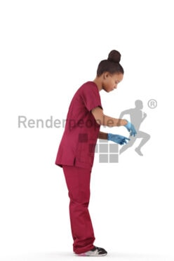Photorealistic 3D People model by Renderpeople – black woman in healthcare outfit, wearing gloves