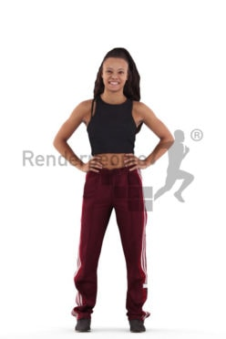 3D People model for 3ds Max and Cinema 4D – black teenager in sportswear, smiling