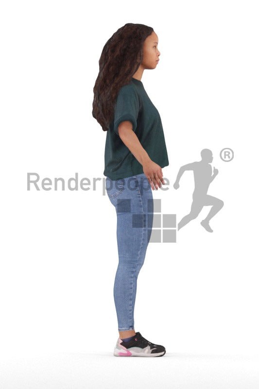 Rigged human 3D model by Renderpeople – black female teenager in casual daily look