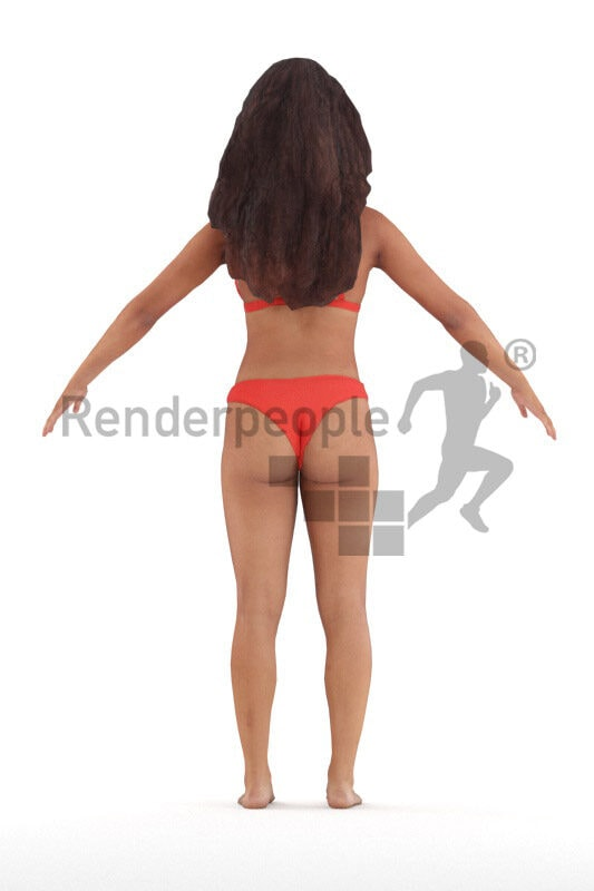 Rigged 3D People model for Maya and 3ds Max – black young woman in red bikini, for beach and pool renderings