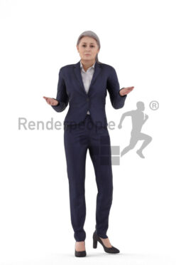 Animated 3D People model for realtime, VR and AR – elderly white woman in business clothes, presenting