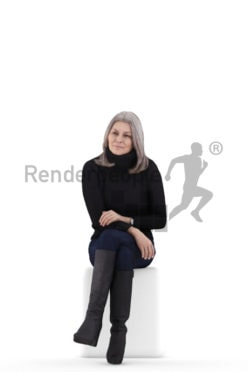 3D People model for 3ds Max and Blender – elderly white woman in casual clothes, sitting