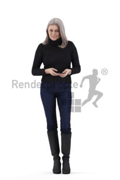 3D People model for 3ds Max and Cinema 4D – elderly european femal, standing, casual
