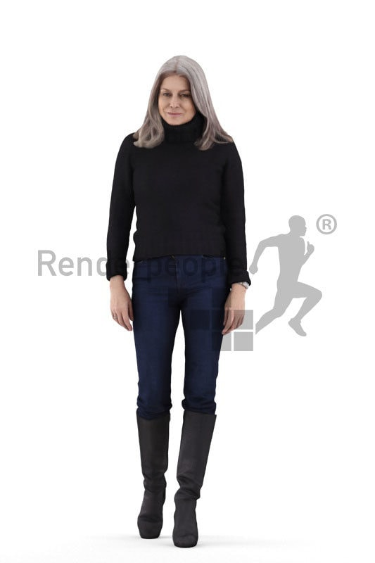 Scanned human 3D model by Renderpeople – elderly european woman in casual winter look, walking