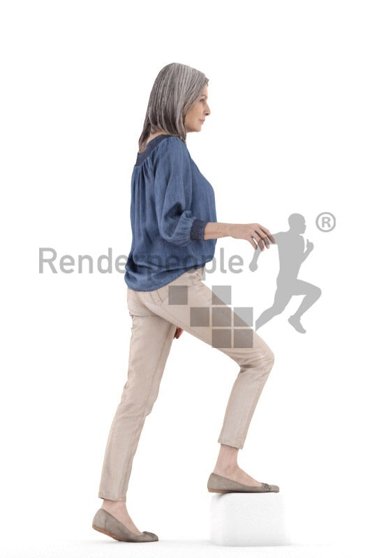 Posed 3D People model for renderings – elderly white woman in smart casual shirt, walking upstairs