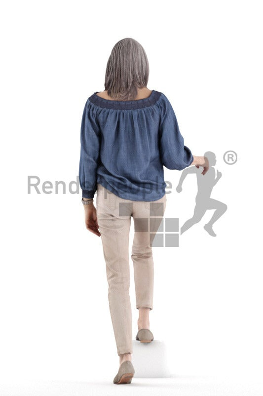 Posed 3D People model for renderings – elderly white woman in smart casual shirt, walking upstairs