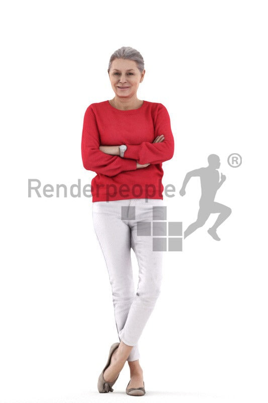3D People model for 3ds Max and Cinema 4D – elderly white woman wearing smart casual outfit, standing