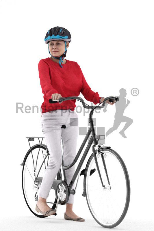 Scanned human 3D model by Renderpeople – elderly european woman with helmet and bicycle