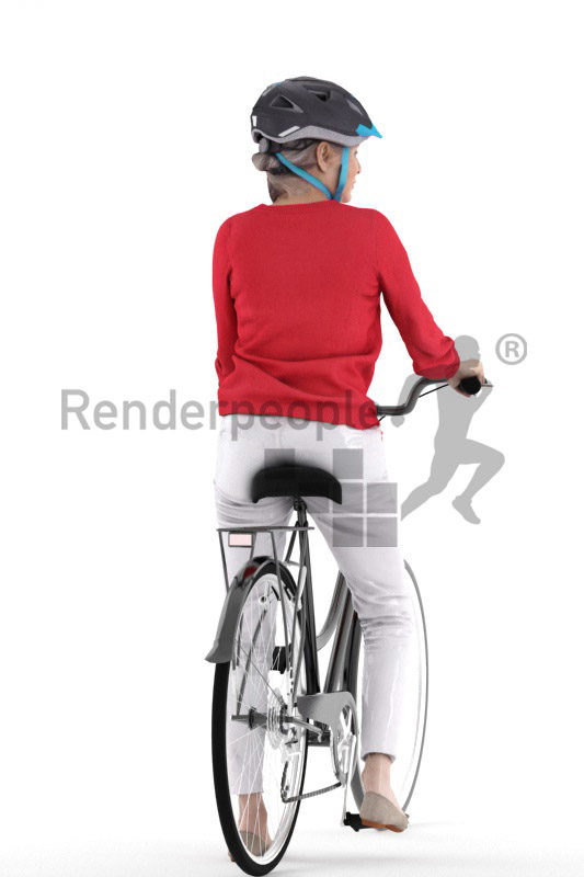 Scanned human 3D model by Renderpeople – elderly european woman with helmet and bicycle