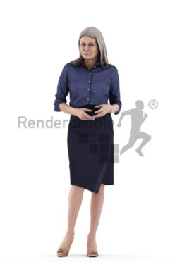 Scanned 3D People model for visualization – elderly white woman standing and walking and wearing office clothing