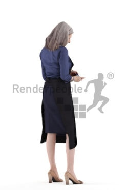 3d people gastronomy, 3d elderly white woman, standing and taking notes