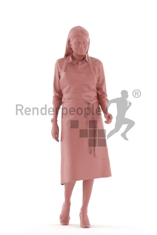 3d people gastronomy, 3d elderly white woman, walking