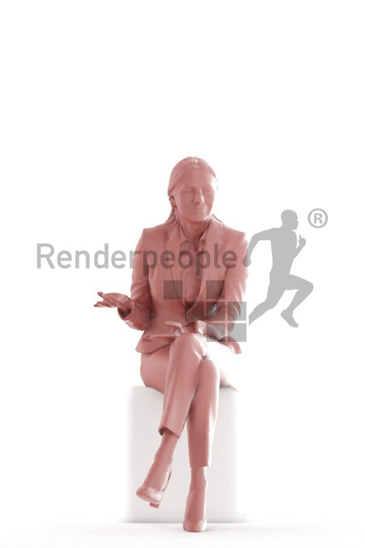 3d people business,3d elderly white woman, sitting and talking
