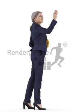 Posed 3D People model for visualization – elderly white woman in business suit, helmet, pointing