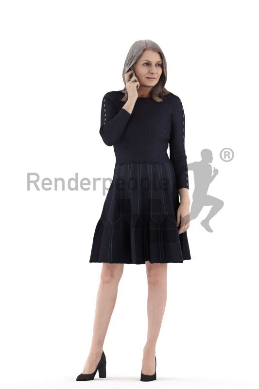 Posed 3D People model for visualization – elderly white woman with a skiz, calling