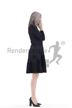 Posed 3D People model for visualization – elderly white woman with a skirt, calling