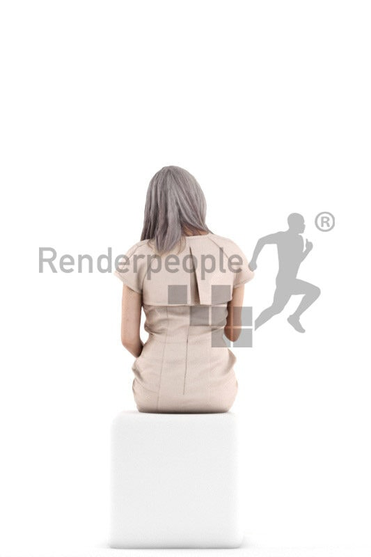 3D People model for 3ds Max and Sketch Up – elderly white woman in event dress, sitting and holding a glass of champagne