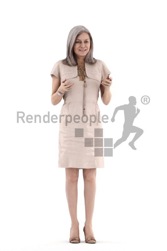 3d people casual, eldery white 3d woman standing