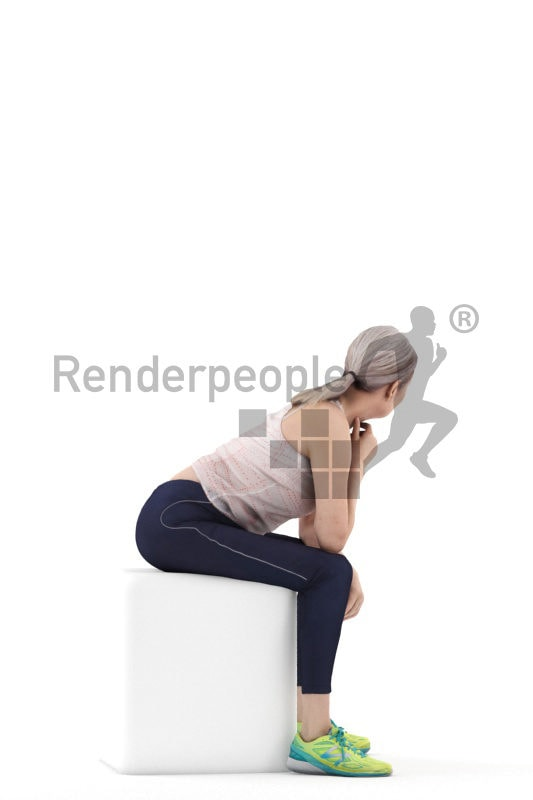 3d people sports, 3d elderly white woman sitting