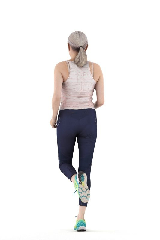 3d people sports, 3d elderly white woman jogging