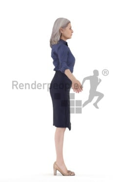 Rigged human 3D model by Renderpeople – elderly white woman, business
