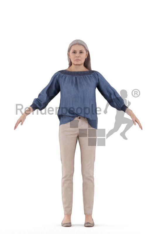 Rigged and retopologized 3D People model – elderly european female, casual chic