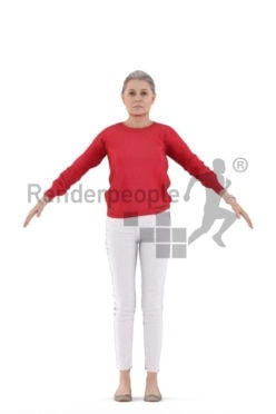 Rigged human 3D model by Renderpeople – elderly white woman, casual outfit
