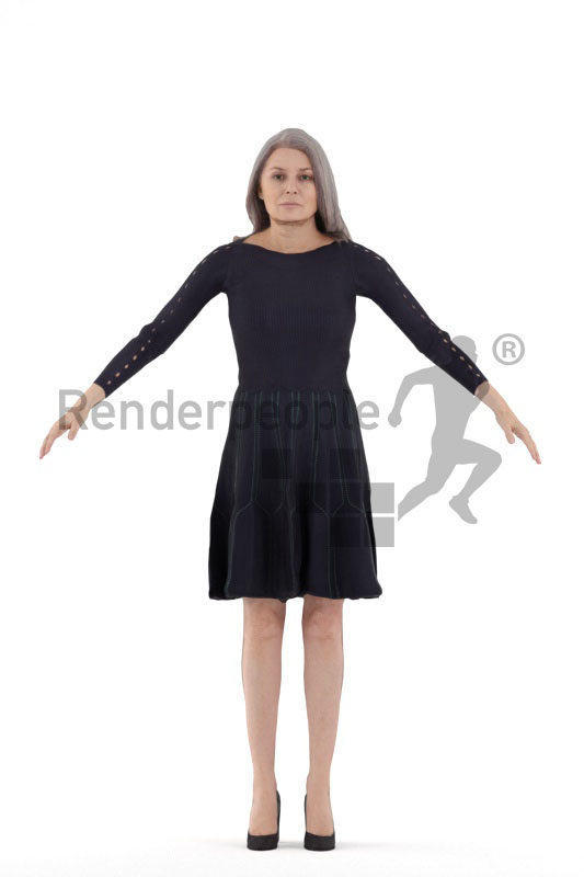 Rigged human 3D model by Renderpeople – elderly european woman in a dress, event