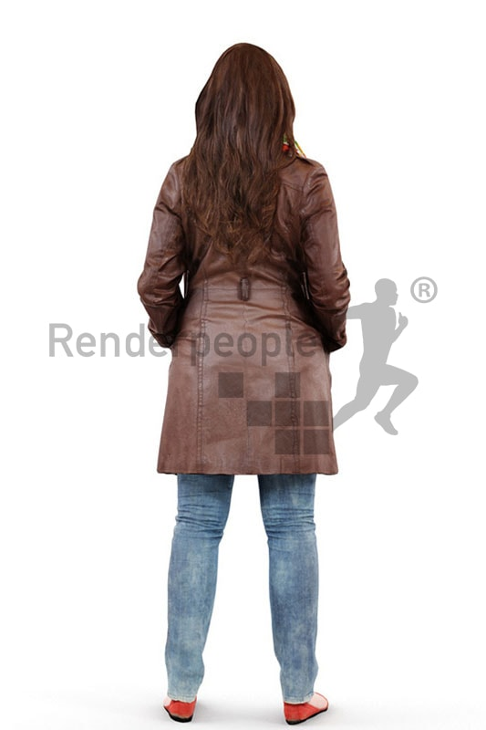 3d people casual, 3d woman wearing a jacket