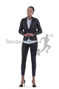 Animated 3D People model for visualization – black female in business look, presenting