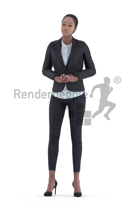 Animated 3D People model for visualization – black female in business look, talking