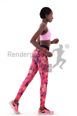 3d people sports, black 3d woman jogging