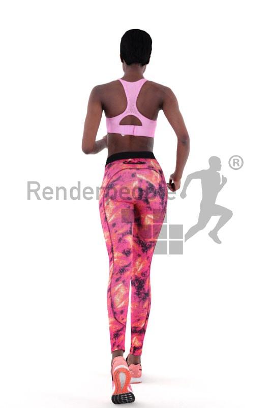 3d people sports, black 3d woman jogging