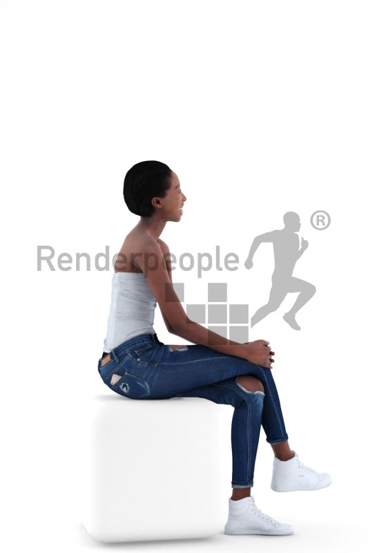 3d people casual, black 3d woman sitting and laughing