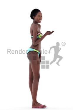 3d people beach, black 3d woman standing and smiling with bikini