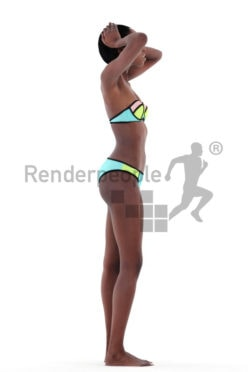 3d people beach, black 3d woman standing with bikini