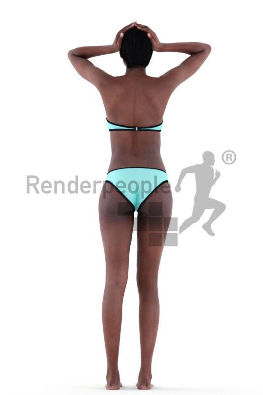 3d people beach, black 3d woman standing with bikini