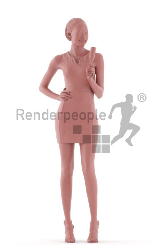 3d people event, black 3d woman standing and holding a champagne glass