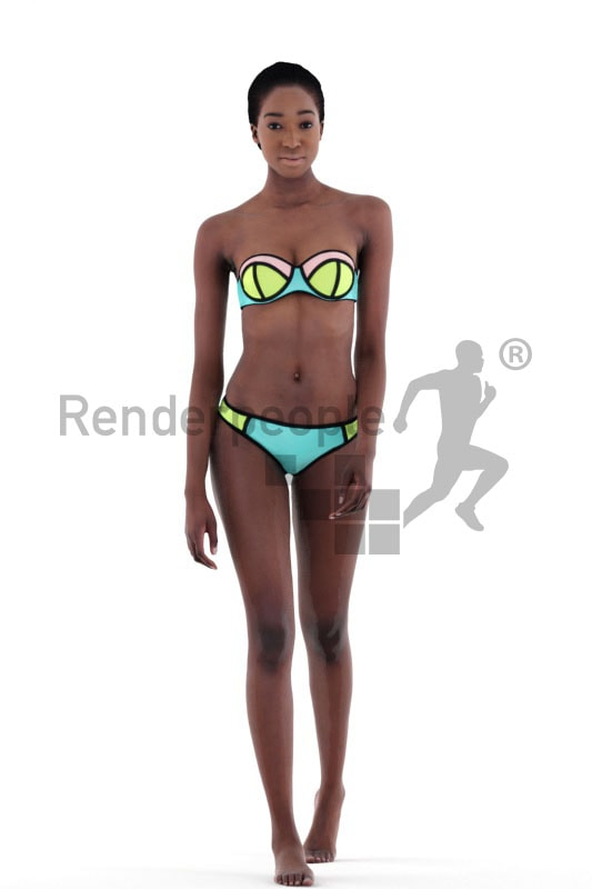 3d people beach, black 3d woman walking