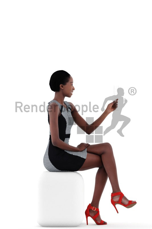 3d people evening, black 3d woman sitting and holding champagne glass