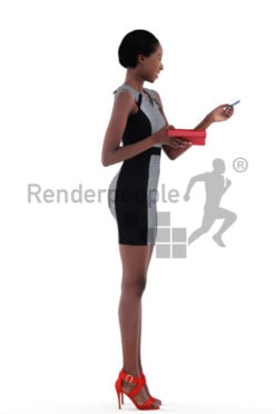 3d people evening, black 3d woman standing and paying with credit card
