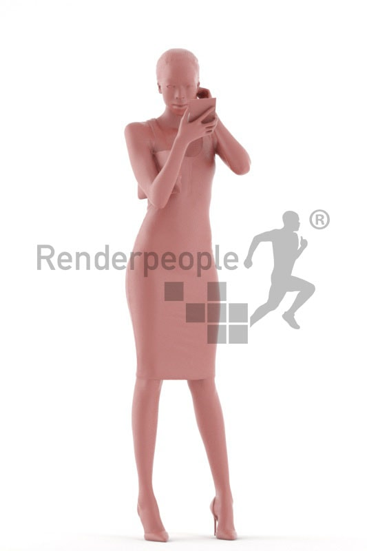 3d people evening, black 3d woman standing and checking her makeup