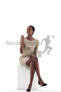 3d people evening, black 3d woman sitting and drinking champagne
