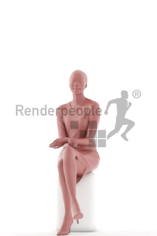 3d people evening, black 3d woman sitting and smiling