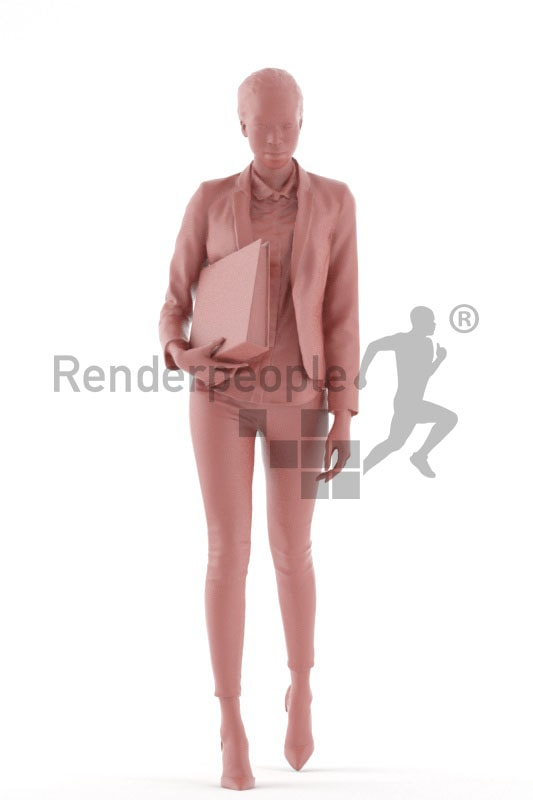 3d people business, black 3d woman walking and holding a folder