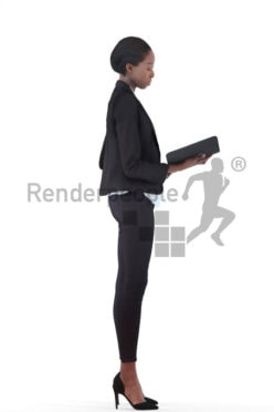 3d people business, black 3d woman standing and looking into folder