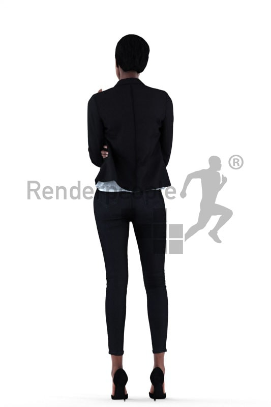 3d people business, black 3d woman drinking coffee